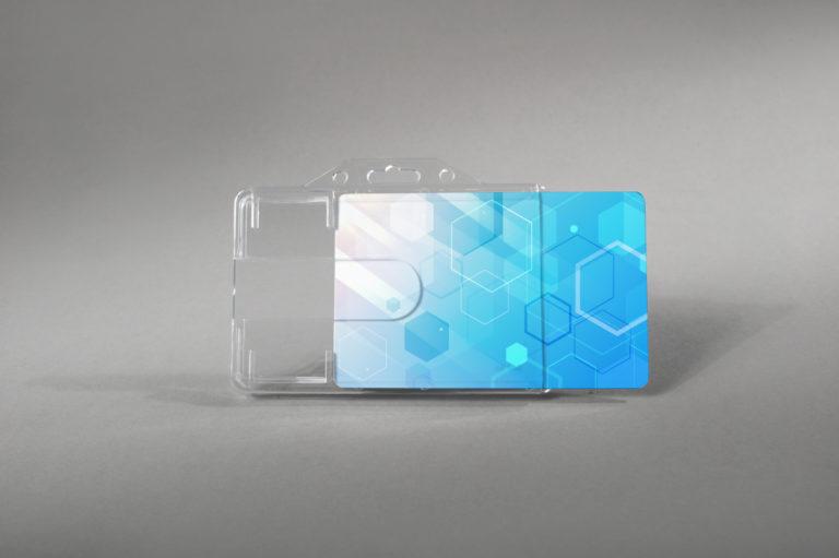 Robust rigid card holder with finger slot design (horizontal)